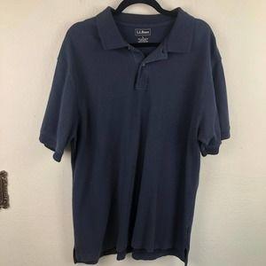 L. L. Bean Classic Navy Cotton Polo Shirt Casual